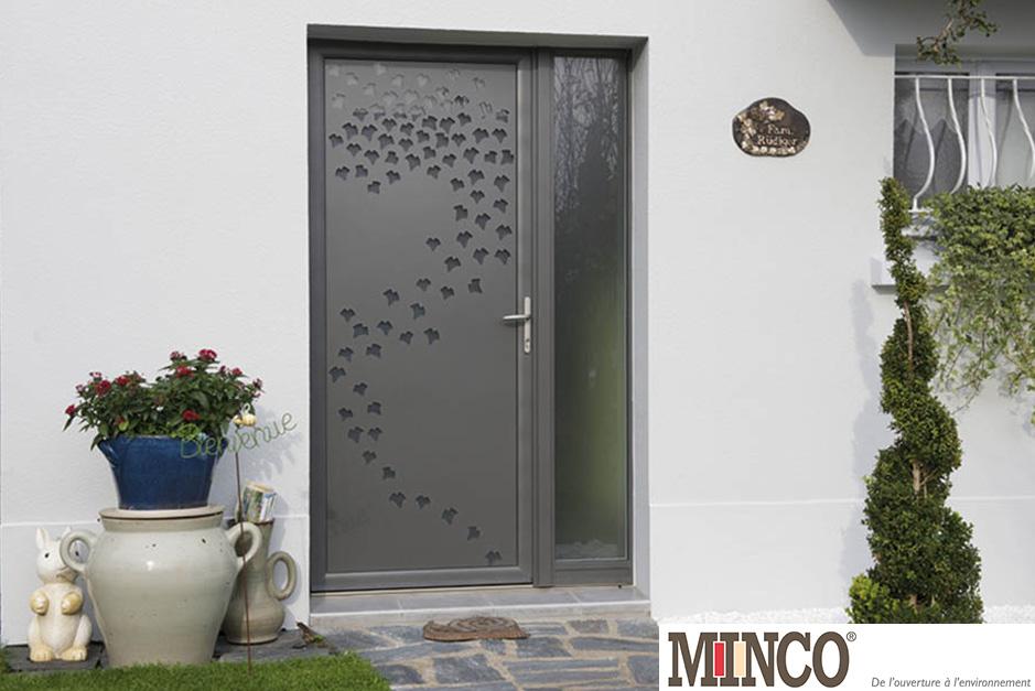 Porte mixte bois aluminium aluminium56 for Porte d entree minco
